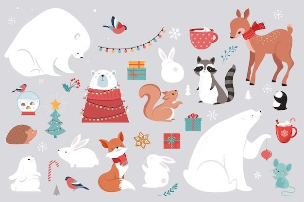 冬の森の動物、メリークリスマスのグリーティングカード、かわいいクマ、鳥、バニー、鹿、ネズミ、ペンギンのポスター。