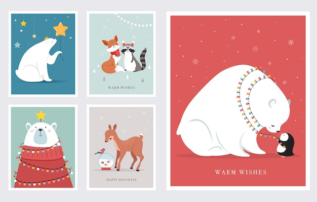 Winter forest animals, merry christmas greeting cards, posters with cute bear, birds, bunny, deer, mouse and penguin.