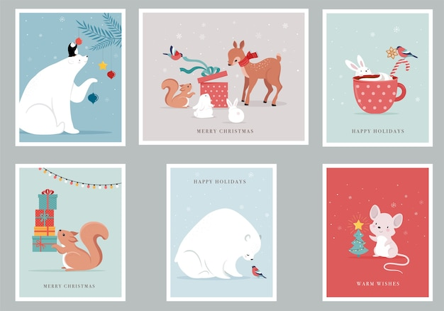 Winter forest animals, merry christmas greeting cards with cute bear, birds, bunny, deer, mouse and penguin.