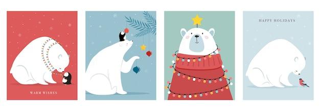 冬の森の動物、メリークリスマスのグリーティングカード