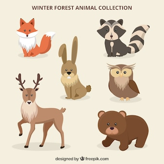 Winter forest animals set in flat style
