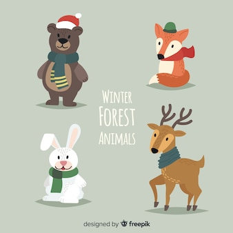 Animali della foresta invernale