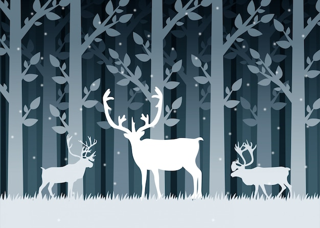 Winter forest deer silhouettes