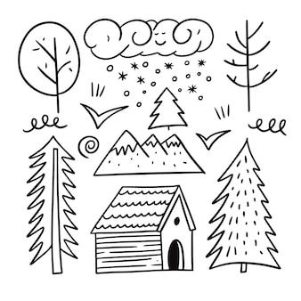 冬の森の要素を設定します。落書きスタイル。漫画の手描きの着色。白い背景で隔離。