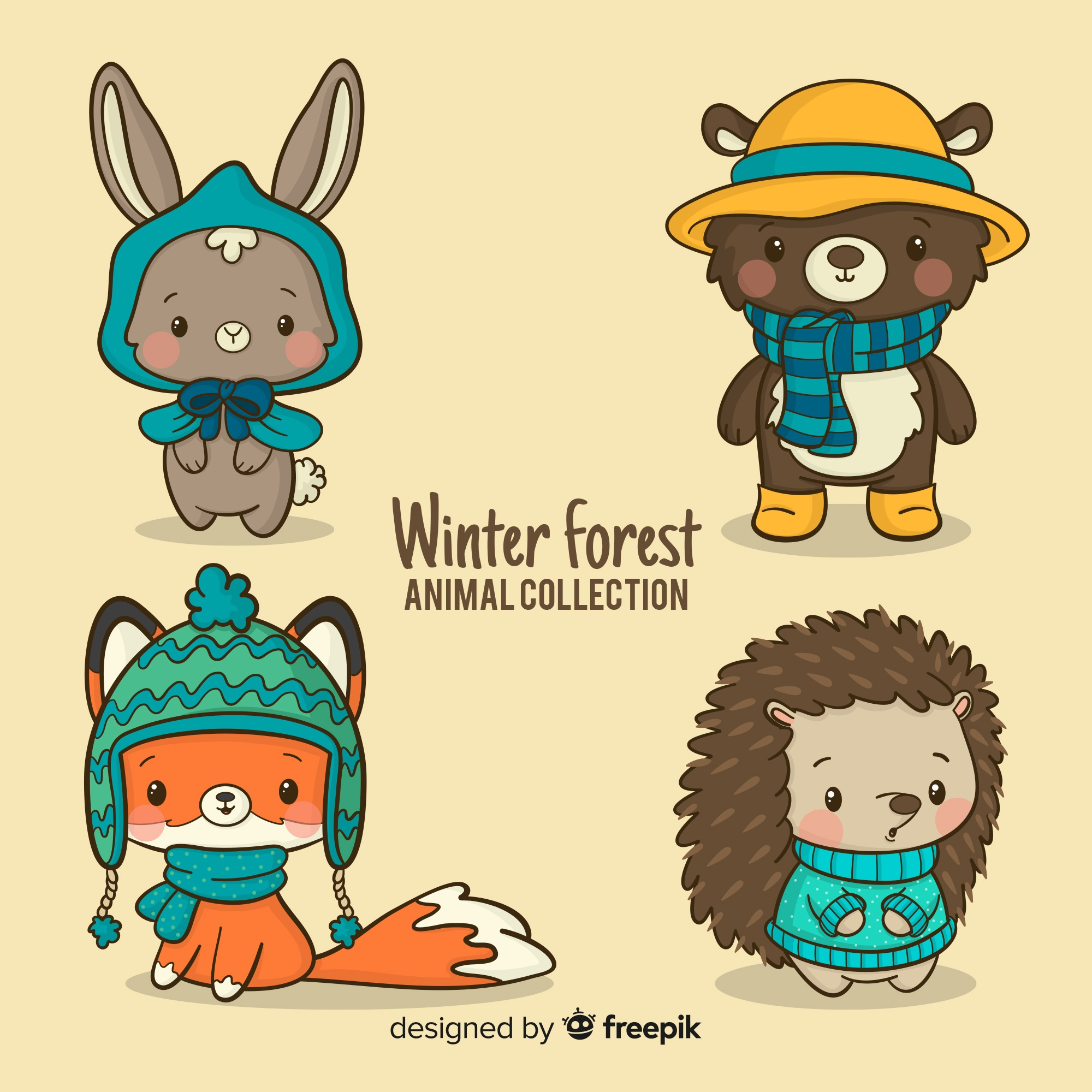 Winter forest friends collection