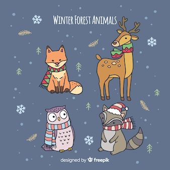 Winter forest hand drawn animals