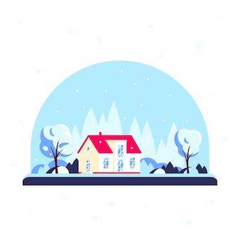冬の森の家、家族の家に木がある冬のランドスケープ。不動産のコンセプト。フラットなデザインスタイルのイラスト