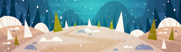 Winter forest landscape moon shining over snowy trees, merry christmas and happy new year banner holidays concept