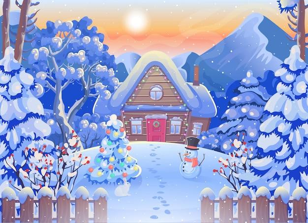 Зимний лесной пейзаж с деревянным домом, горы, луна и звездное небо, снеговик. рождественская открытка.