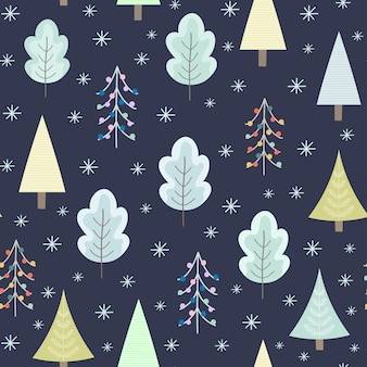 Winter forest at night seamless pattern for christmas