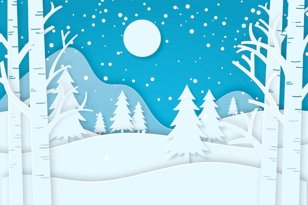 Winter forest in paper style background
