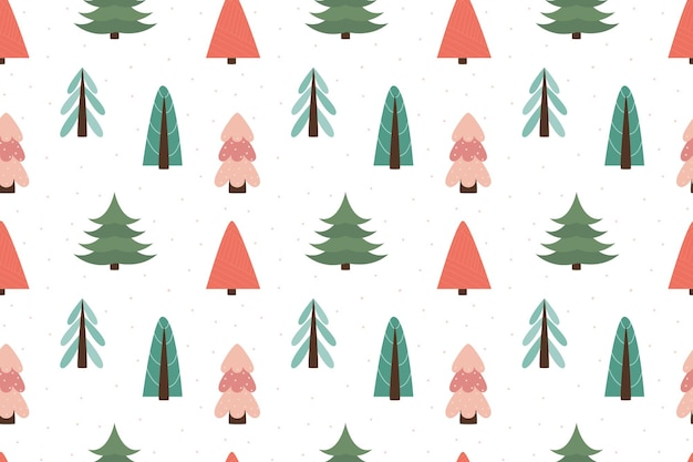 Winter forest scandinavian seamless pattern. new year, christmas, holidays. stylized tree for print, paper, design, fabric, decor, gift wrap, background. versatile design. vector illustration, doodle