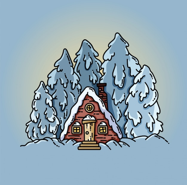 Winter forest scene cabin log flat illustration