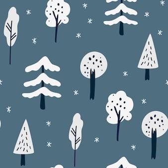겨울 숲 완벽 한 패턴입니다. 크리스마스 트리, 눈송이 및 나무. 스칸디나비아 스타일의 겨울 풍경입니다. 벽지, 의류, 포장 초대장, 포스터에 대한 휴일 장식 배경.