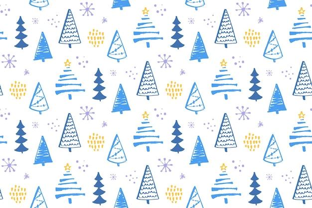 冬の森のシームレスなパターンのクリスマスツリーラッピングとクリスマスデザインのベクトルの背景