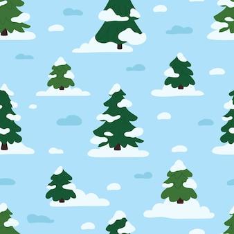 冬の森のシームレスなパターン。フラットスタイルのクリスマスベクトルイラスト。