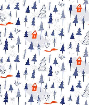 Winter forest seamless pattern white snow background with trees house and fox gift wrapping paper