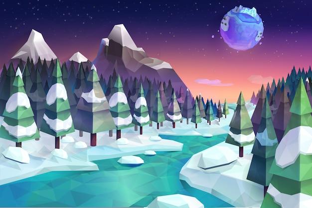 冬の森、ベクトルイラスト低ポリスタイル