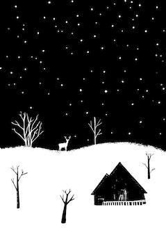 사슴과 집이 있는 겨울 숲. 눈이 내리는 밤 풍경.