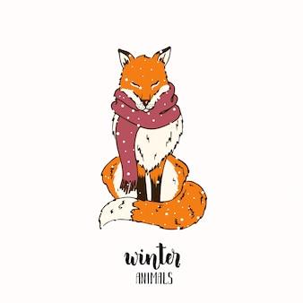 Зимняя лисица в шарфе со снежинками. эскизный стиль. надпись- зимние животные.