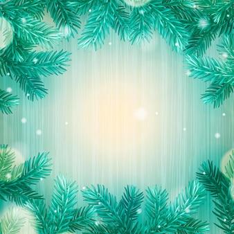 가문비나무 분기 벡터 일러스트와 함께 겨울 프레임 크리스마스 배경