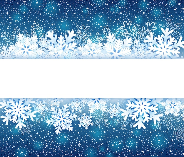 Winter frame with paper snowflakes on blue.   illustration