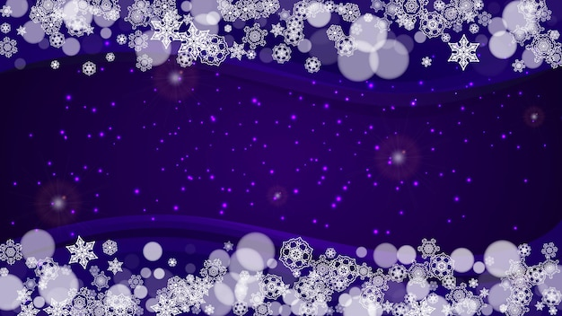 Winter frame with ultra violet snowflakes. new year backdrop. snow border for flyer, gift card, party invite, retail offer and ad. christmas trendy background. holiday frosty banner with winter frame