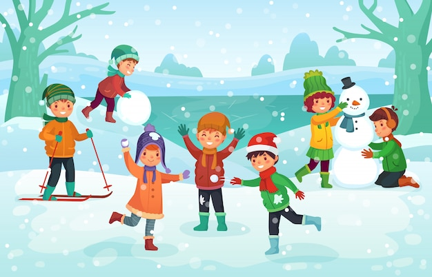 Winter fun for kids. happy cute children playing outdoors. christmas  holidays cartoon illustration