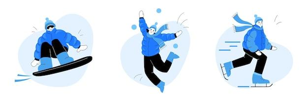 겨울 재미. 여자가 스케이트를 타요. 스노 보드에 남자. 아이들은 눈덩이를칩니다.