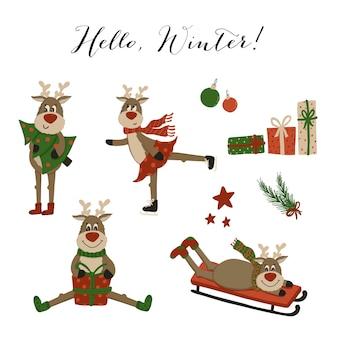 Winter funny deer characters