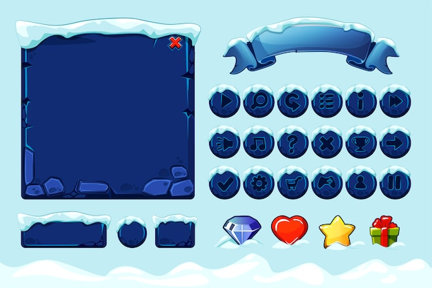 Winter game ui stones buttons with snow. set stone assets, interface, icons and buttons for ui game.