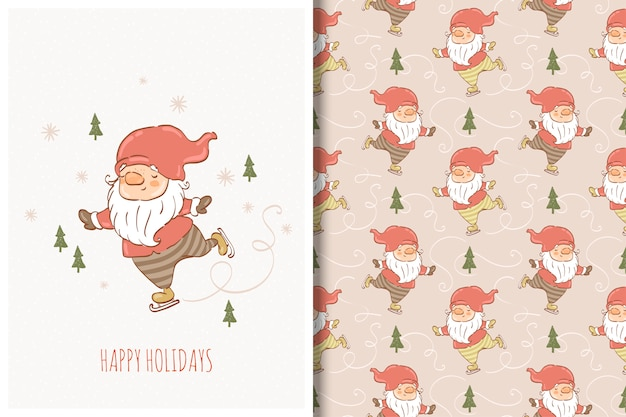 Winter gnome hand drawn card and seamless pattern
