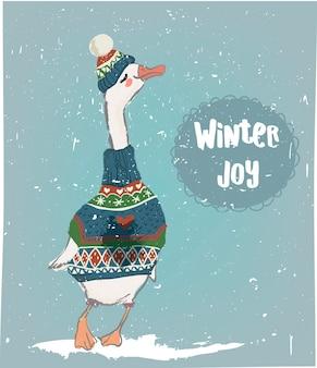 Зимний гусь в ватном свитере и шляпе