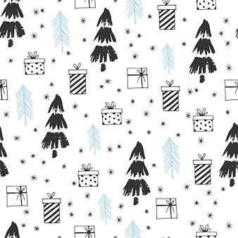 冬のグラフィックのシームレスなパターンとクリスマスツリー手描きのクリスマスベクトルイラスト
