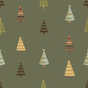 Winter graphic seamless pattern with christmas trees. hand-drawn vector illustration. christmas wrapping paper.
