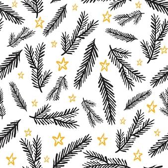 Зимний графический фон с елками.