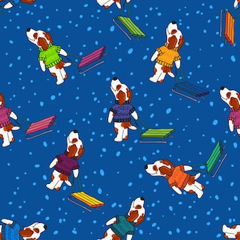Winter greeting design with dogs in colorful sweaters