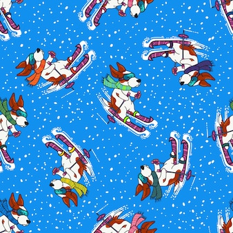 Winter greeting design with dogs in colorful sweaters are skiing