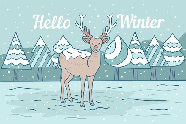 Winter hand-drawn background