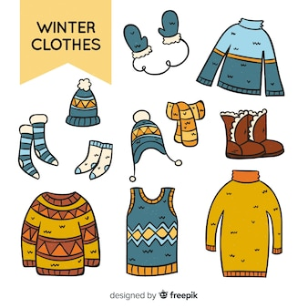 Winter hand drawn clothes