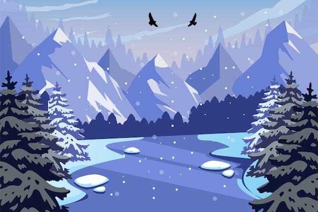 Winter hand drawn landscape