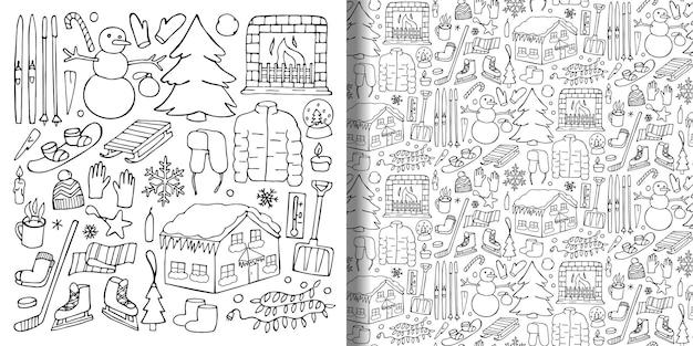 Зимний набор рисованной объектов и бесшовные модели doodle зимние фоны