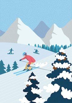 Winter hand-drawn poster active recreation in alpine mountains. skier downhill skiing down snowy slope. athletes snowboarders ride snowboard. outdoor sports in ski resort vector illustration banner