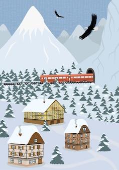 Зимний рисованной плакат страны сцена в альпийских горах. экспресс едет по железной дороге и выходит из туннеля. векторный пейзаж снежные склоны с еловым лесом и европейскими домами высокогорного поселения