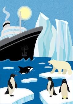 Зимний рисованный плакат северного судоходства в дикой природе. парусный ледокол и айсберг в северном океане. белый медведь и пингвины сидят на льдине, косатка выходит из волны. арктика и антарктика eps