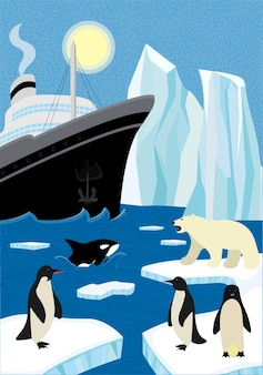 Winter hand-drawn poster north shipping in wildlife. sail icebreaker and iceberg in northern ocean. polar bear and penguins sitting on ice floe, killer whale emerge from wave. arctic and antarctic eps