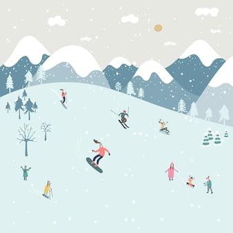 冬の手描きスタイル、キュートで楽しいキャラクター。