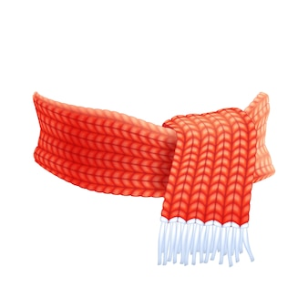 Winter hand knitted scarf flat pictogram