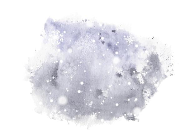 冬の手描きの水彩画。アートワークの雪片とスプラッタステイン水彩背景に降る雪。