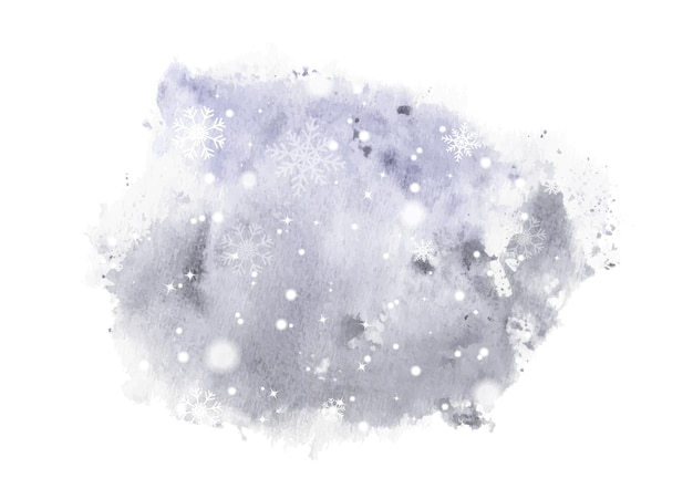 Winter hand-painted watercolor. artwork snowflakes and snow falling on splatter stain watercolor background.